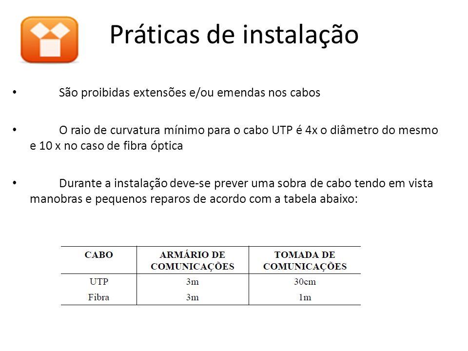 São proibidas extensões e/ou emendas nos cabos O raio de curvatura mínimo para o cabo UTP é 4x o diâmetro do mesmo e 10 x no caso de fibra óptica Dura