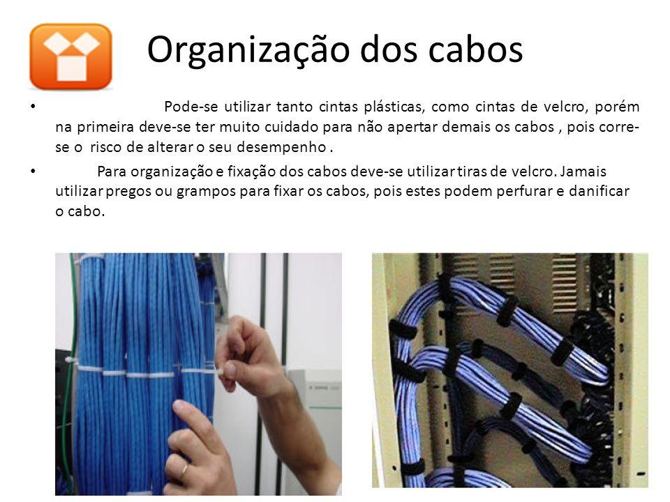Organização dos cabos Pode-se utilizar tanto cintas plásticas, como cintas de velcro, porém na primeira deve-se ter muito cuidado para não apertar dem