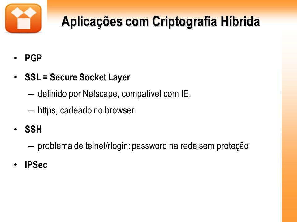 Aplicações com Criptografia Híbrida PGP SSL = Secure Socket Layer – definido por Netscape, compatível com IE. – https, cadeado no browser. SSH – probl