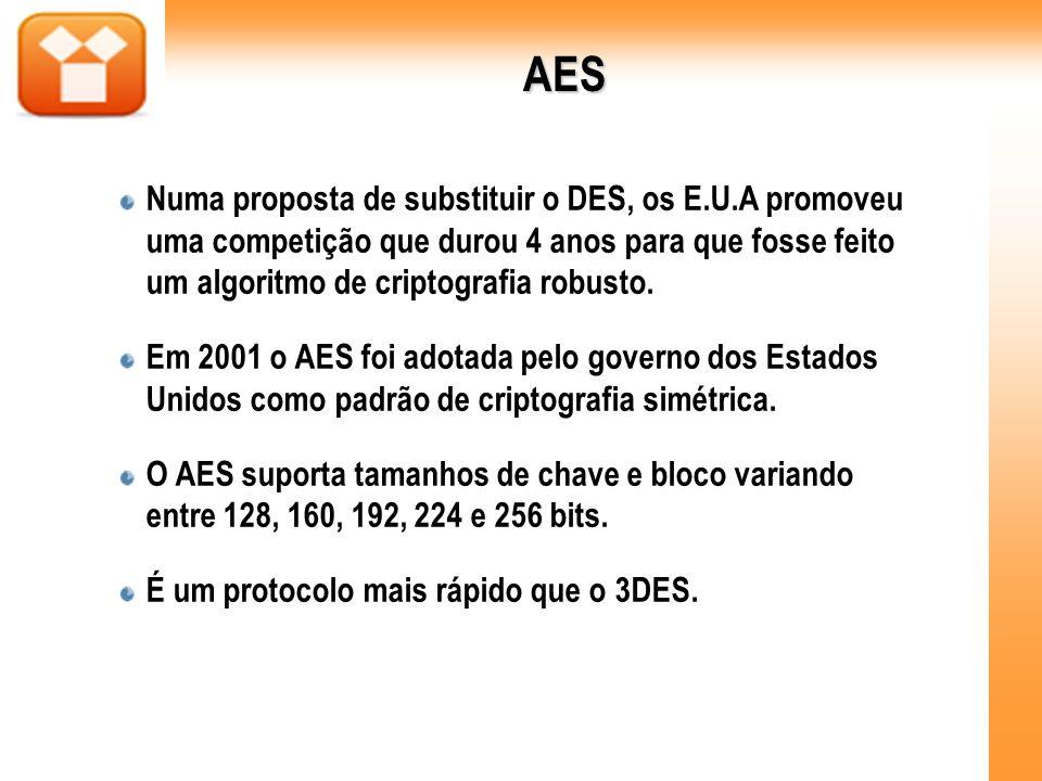 AES Numa proposta de substituir o DES, os E.U.A promoveu uma competição que durou 4 anos para que fosse feito um algoritmo de criptografia robusto. Em