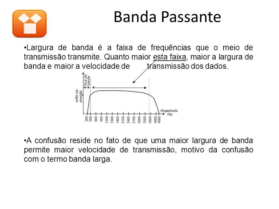 Banda Passante Grande Largura de Banda Largura de banda é a faixa de frequências que o meio de transmissão transmite. Quanto maior esta faixa, maior a