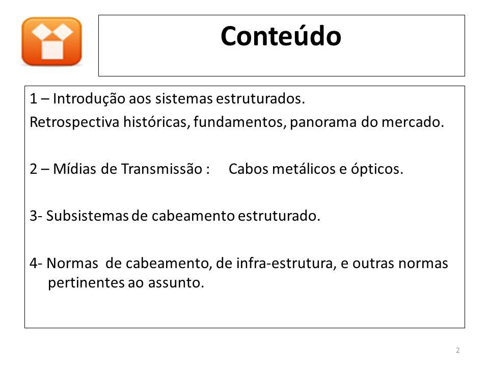Conteúdo 1 – Introdução aos sistemas estruturados. Retrospectiva históricas, fundamentos, panorama do mercado. 2 – Mídias de Transmissão : Cabos metál
