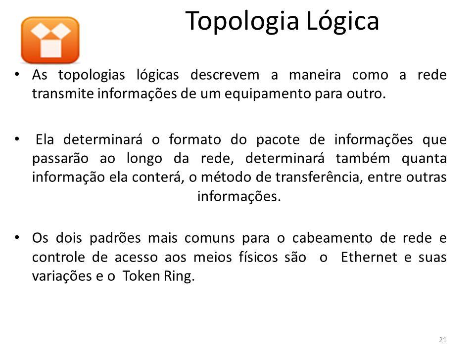 As topologias lógicas descrevem a maneira como a rede transmite informações de um equipamento para outro. Ela determinará o formato do pacote de infor