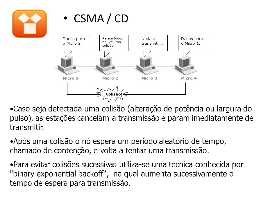 CSMA / CD Caso seja detectada uma colisão (alteração de potência ou largura do pulso), as estações cancelam a transmissão e param imediatamente de tra