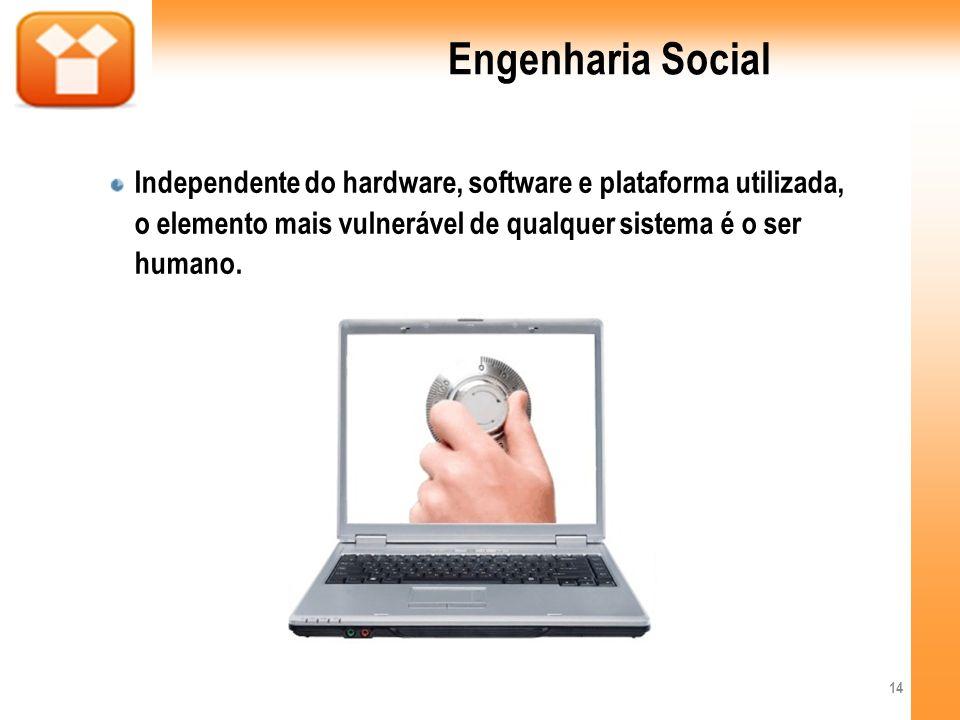 Engenharia Social Independente do hardware, software e plataforma utilizada, o elemento mais vulnerável de qualquer sistema é o ser humano. 14
