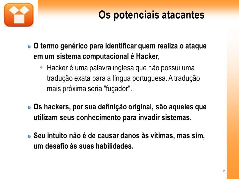 Os potenciais atacantes O termo genérico para identificar quem realiza o ataque em um sistema computacional é Hacker, Hacker é uma palavra inglesa que