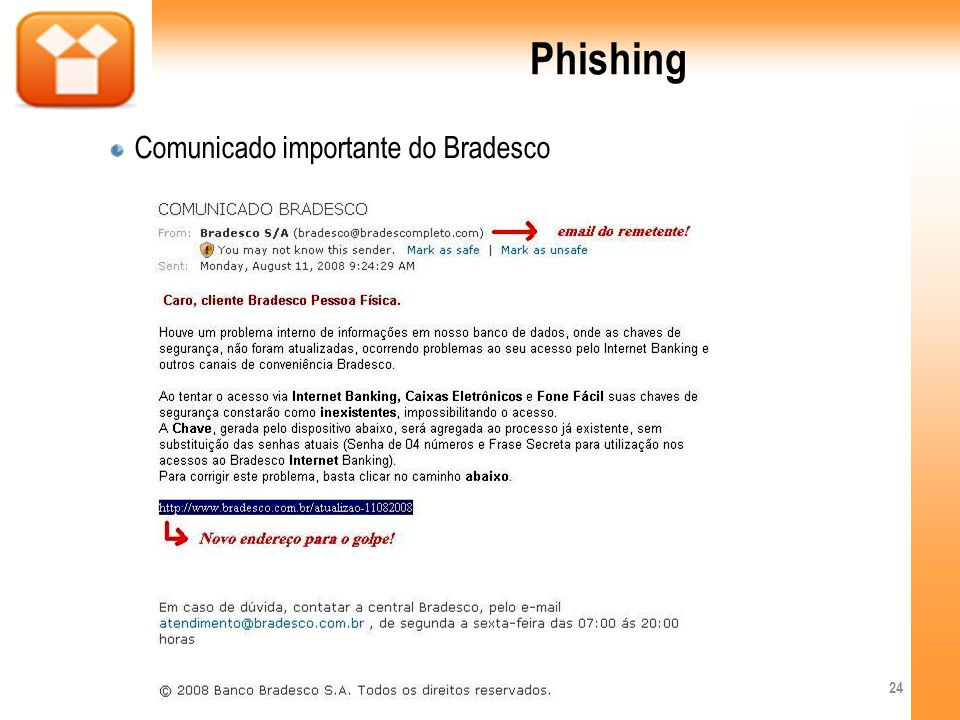 Phishing Comunicado importante do Bradesco 24