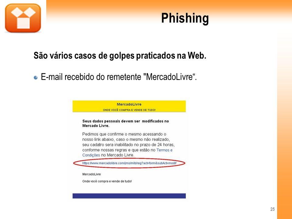 Phishing São vários casos de golpes praticados na Web. E-mail recebido do remetente