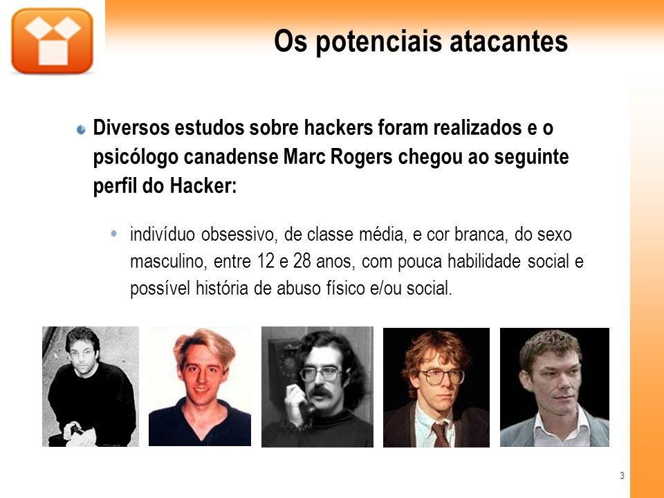 Os potenciais atacantes Diversos estudos sobre hackers foram realizados e o psicólogo canadense Marc Rogers chegou ao seguinte perfil do Hacker: indiv