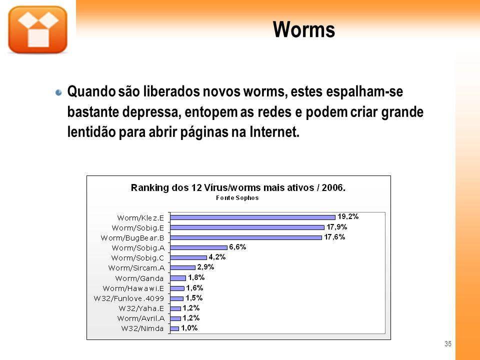 Worms Quando são liberados novos worms, estes espalham-se bastante depressa, entopem as redes e podem criar grande lentidão para abrir páginas na Inte