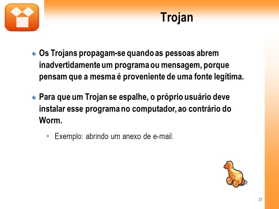 Trojan Os Trojans propagam-se quando as pessoas abrem inadvertidamente um programa ou mensagem, porque pensam que a mesma é proveniente de uma fonte l