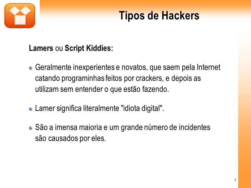 Tipos de Hackers Lamers ou Script Kiddies: Geralmente inexperientes e novatos, que saem pela Internet catando programinhas feitos por crackers, e depo