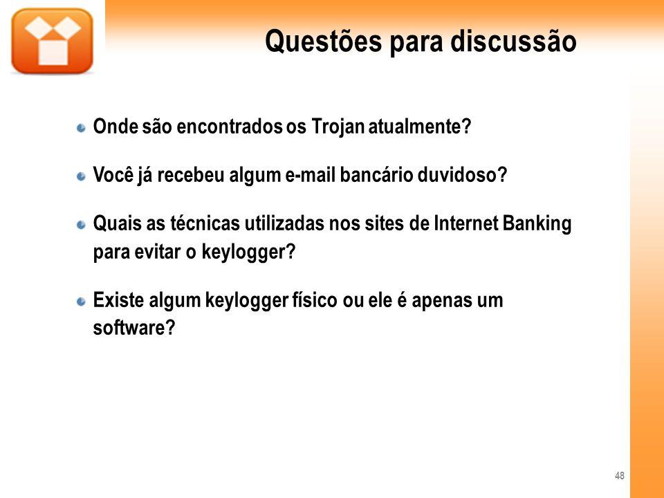 Questões para discussão Onde são encontrados os Trojan atualmente? Você já recebeu algum e-mail bancário duvidoso? Quais as técnicas utilizadas nos si