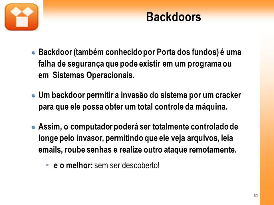 Backdoors Backdoor (também conhecido por Porta dos fundos) é uma falha de segurança que pode existir em um programa ou em Sistemas Operacionais. Um ba