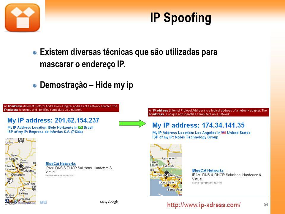 IP Spoofing Existem diversas técnicas que são utilizadas para mascarar o endereço IP. Demostração – Hide my ip http://www.ip-adress.com/ 54