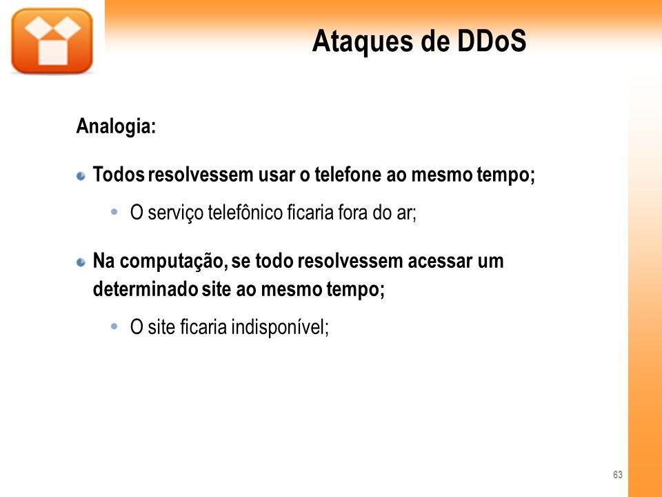 Ataques de DDoS Analogia: Todos resolvessem usar o telefone ao mesmo tempo; O serviço telefônico ficaria fora do ar; Na computação, se todo resolvesse