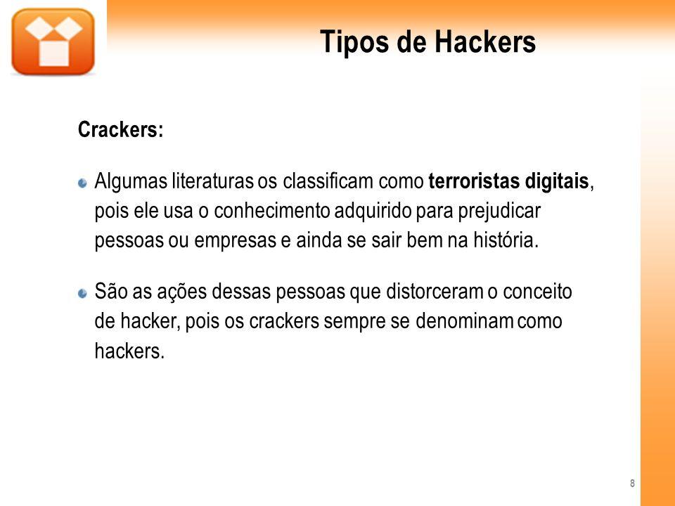 Tipos de Hackers Gray Hat: São black hats que fazem o papel de white hats, a fim de trabalhar na área de segurança.