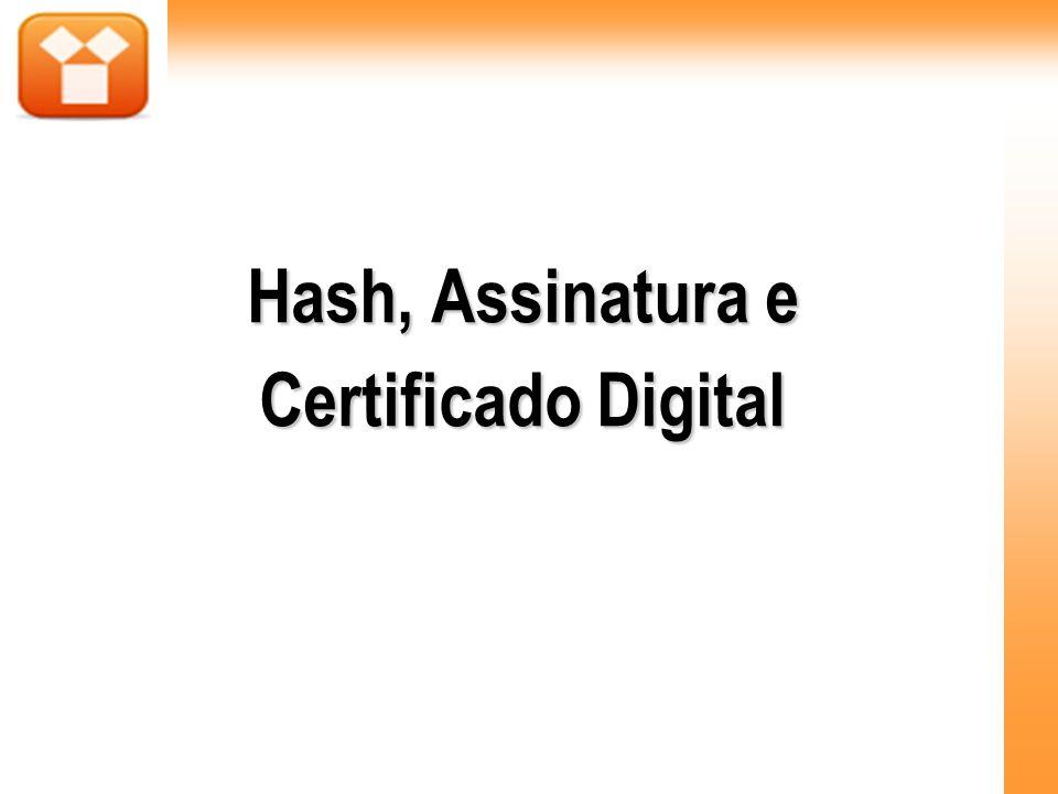 Assinatura Digital Para comprovar uma assinatura digital descriptografa-se a assinatura digital do documento com a chave pública do emissor para encontrar o hash do documento, que é comparado com outro hash realizado a partir do proprio documento recebido.