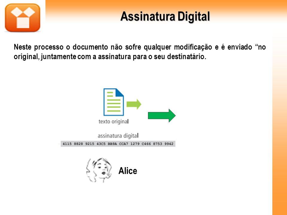 Assinatura Digital Neste processo o documento não sofre qualquer modificação e é enviado no original, juntamente com a assinatura para o seu destinatá