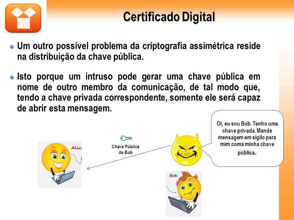 Certificado Digital Um outro possível problema da criptografia assimétrica reside na distribuição da chave pública. Isto porque um intruso pode gerar