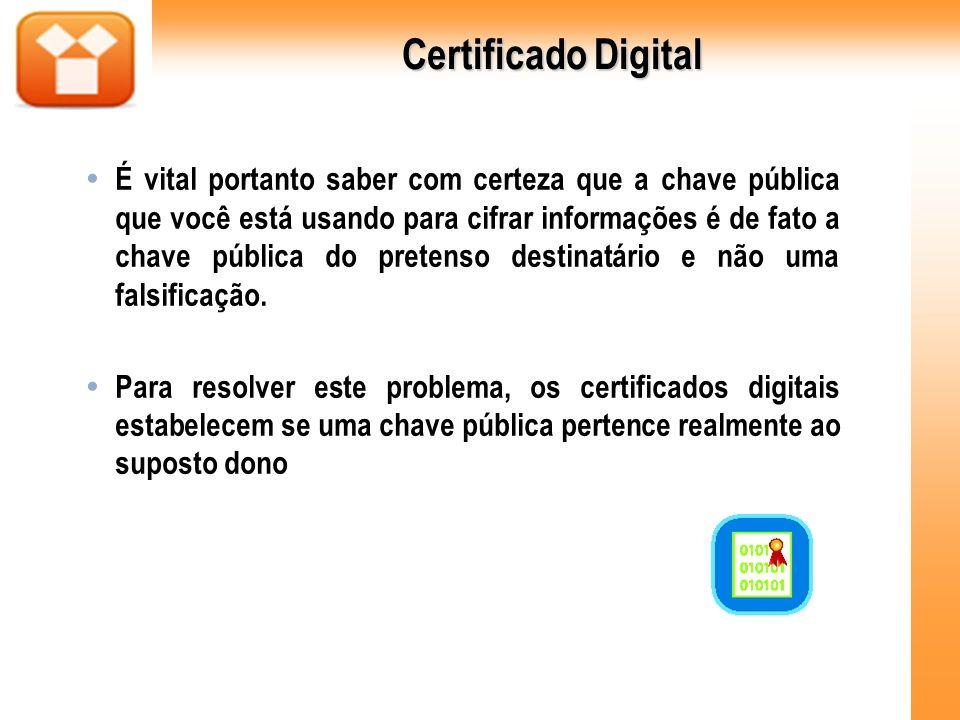 Certificado Digital É vital portanto saber com certeza que a chave pública que você está usando para cifrar informações é de fato a chave pública do p