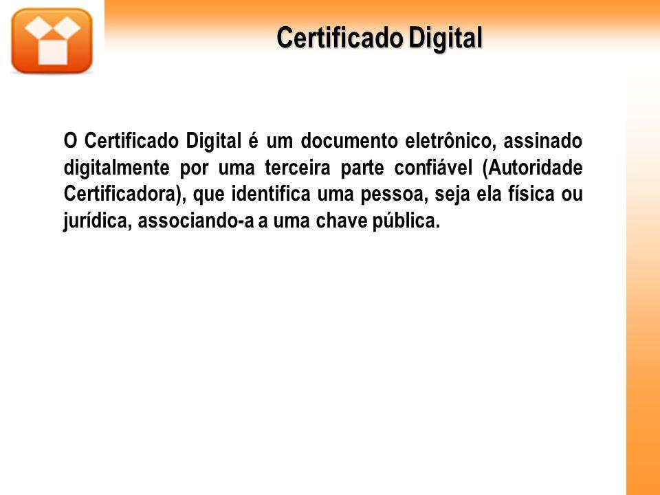 O Certificado Digital é um documento eletrônico, assinado digitalmente por uma terceira parte confiável (Autoridade Certificadora), que identifica uma