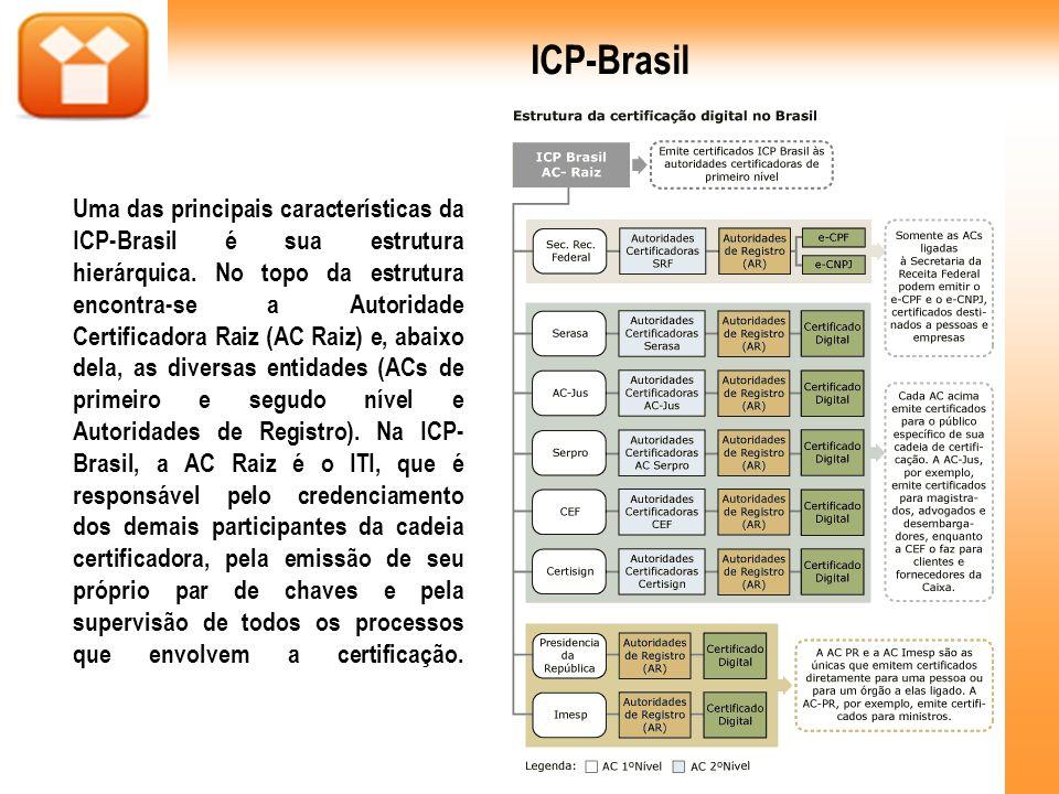 Uma das principais características da ICP-Brasil é sua estrutura hierárquica. No topo da estrutura encontra-se a Autoridade Certificadora Raiz (AC Rai