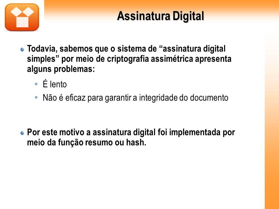Assinatura Digital Todavia, sabemos que o sistema de assinatura digital simples por meio de criptografia assimétrica apresenta alguns problemas: É len