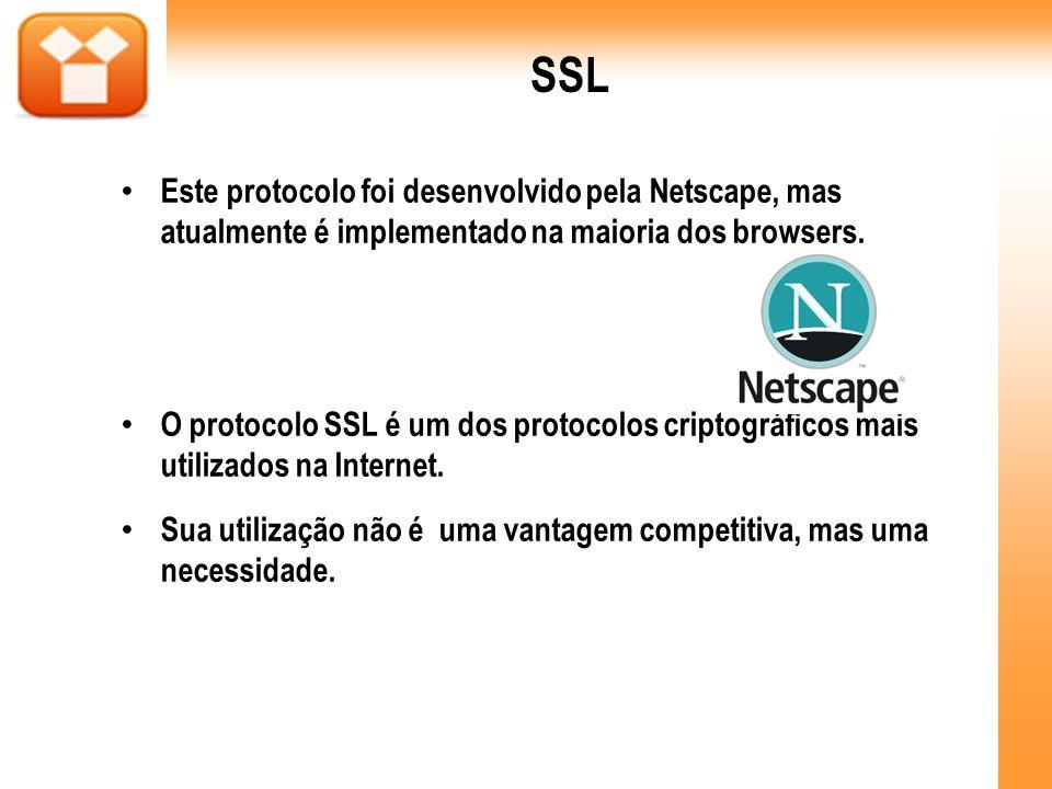 SSL Este protocolo foi desenvolvido pela Netscape, mas atualmente é implementado na maioria dos browsers. O protocolo SSL é um dos protocolos criptogr