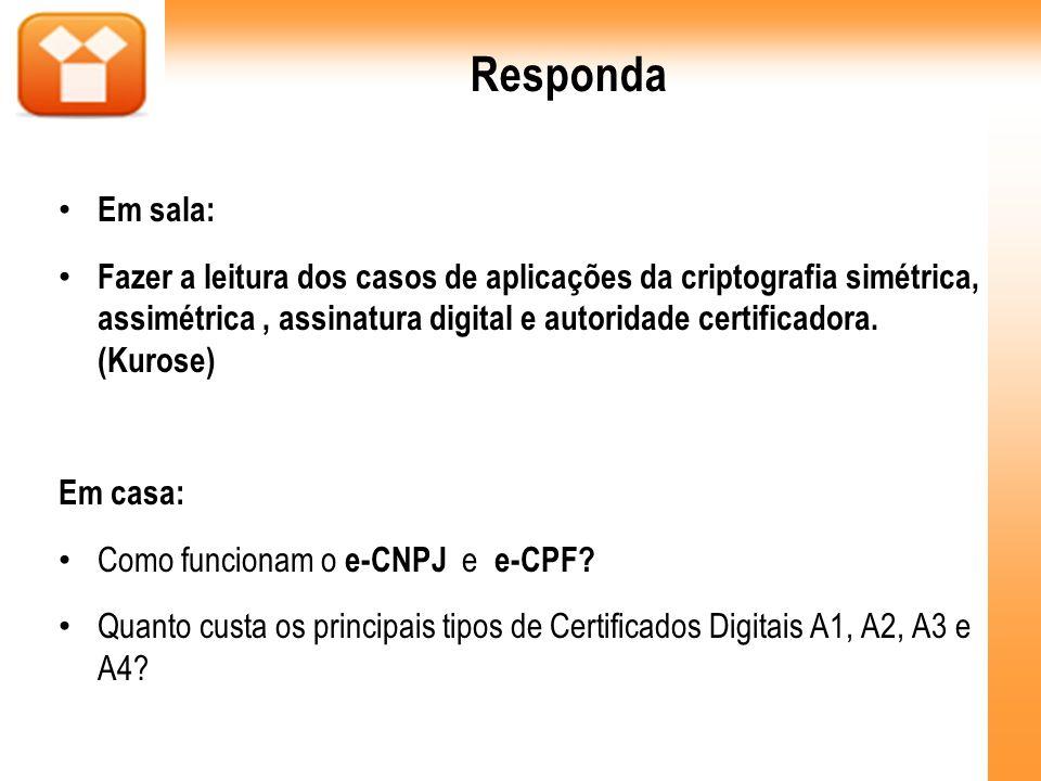 Responda Em sala: Fazer a leitura dos casos de aplicações da criptografia simétrica, assimétrica, assinatura digital e autoridade certificadora. (Kuro