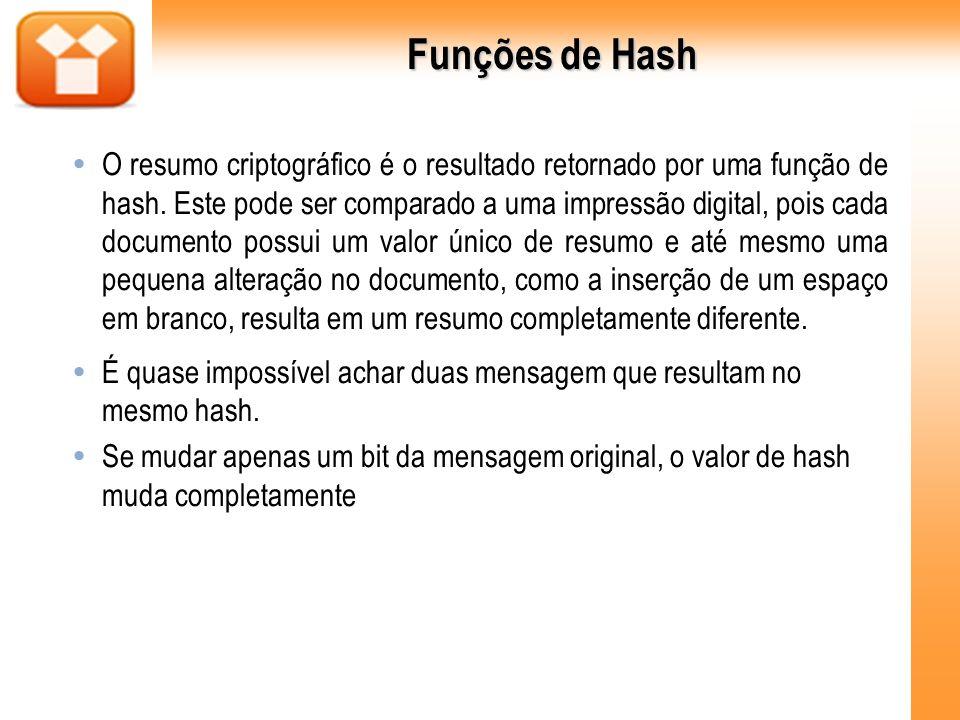 Funções de Hash Alguns exemplos conhecidos de funções hash: MD4 e MD5: desenvolvida por Ron Rivest (do RSA).