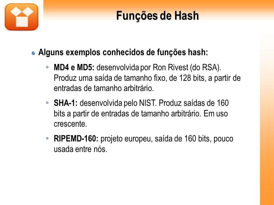Funções de Hash Alguns exemplos conhecidos de funções hash: MD4 e MD5: desenvolvida por Ron Rivest (do RSA). Produz uma saída de tamanho fixo, de 128