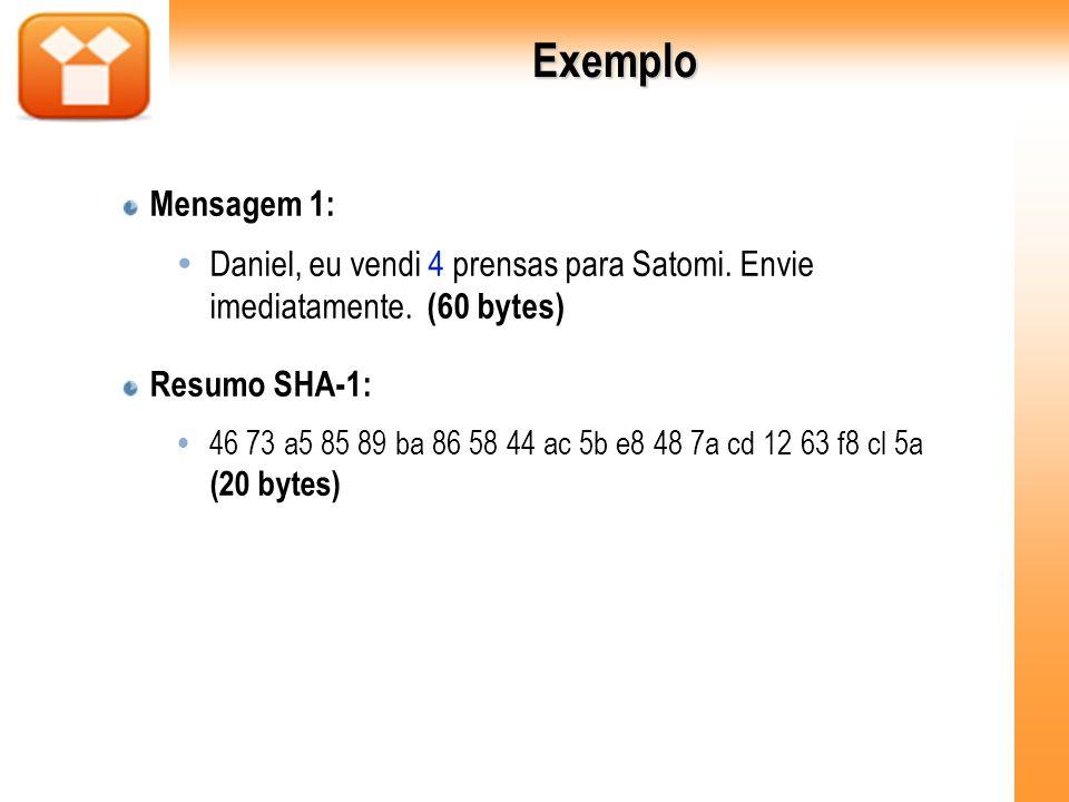 Exemplo Mensagem 1: Daniel, eu vendi 4 prensas para Satomi. Envie imediatamente. (60 bytes) Resumo SHA-1: 46 73 a5 85 89 ba 86 58 44 ac 5b e8 48 7a cd