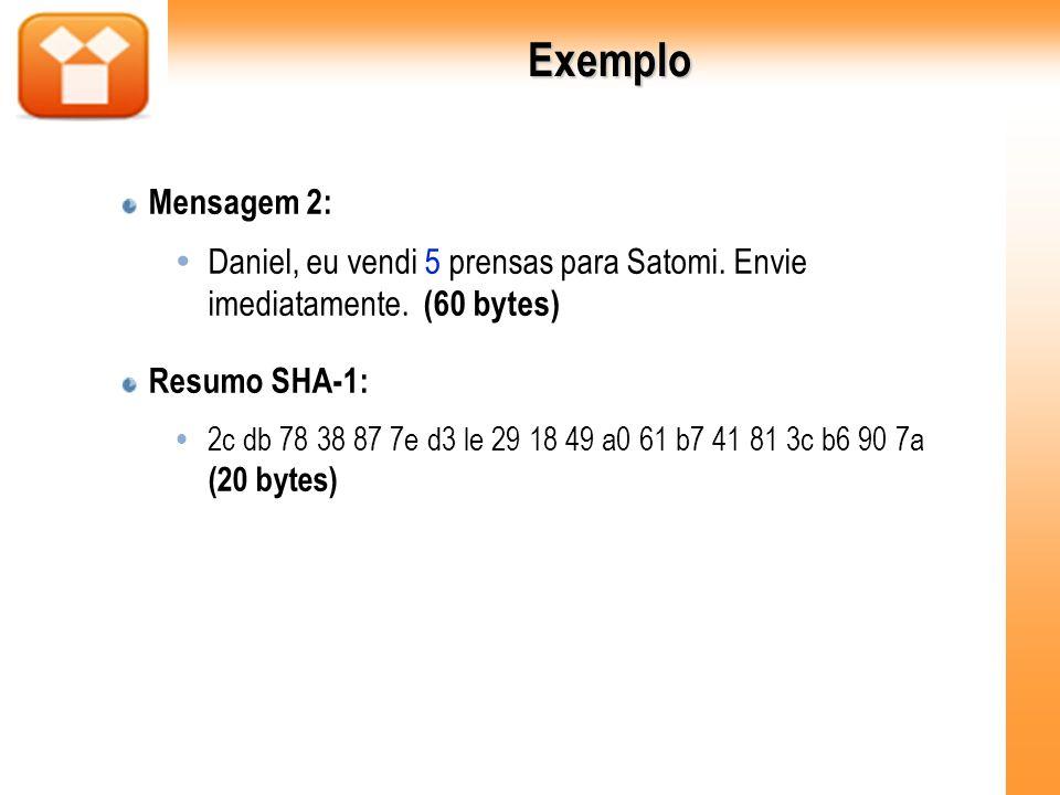 Exemplo Mensagem 2: Daniel, eu vendi 5 prensas para Satomi. Envie imediatamente. (60 bytes) Resumo SHA-1: 2c db 78 38 87 7e d3 le 29 18 49 a0 61 b7 41