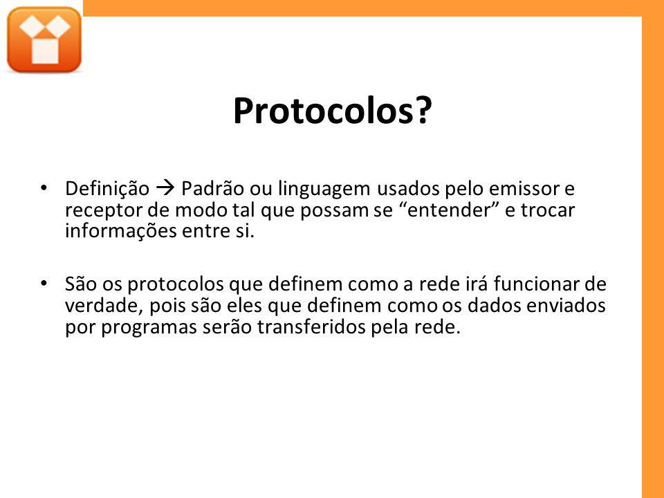 Protocolos? Definição Padrão ou linguagem usados pelo emissor e receptor de modo tal que possam se entender e trocar informações entre si. São os prot