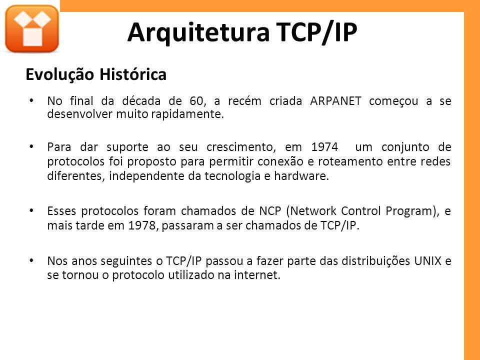 Evolução Histórica No final da década de 60, a recém criada ARPANET começou a se desenvolver muito rapidamente. Para dar suporte ao seu crescimento, e