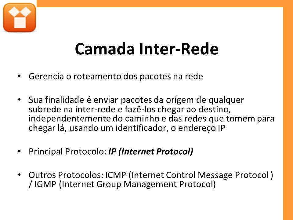 Camada Inter-Rede Gerencia o roteamento dos pacotes na rede Sua finalidade é enviar pacotes da origem de qualquer subrede na inter-rede e fazê-los chegar ao destino, independentemente do caminho e das redes que tomem para chegar lá, usando um identificador, o endereço IP Principal Protocolo: IP (Internet Protocol) Outros Protocolos: ICMP (Internet Control Message Protocol ) / IGMP (Internet Group Management Protocol)