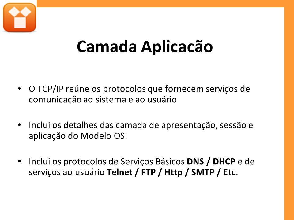 Camada Aplicacão O TCP/IP reúne os protocolos que fornecem serviços de comunicação ao sistema e ao usuário Inclui os detalhes das camada de apresentação, sessão e aplicação do Modelo OSI Inclui os protocolos de Serviços Básicos DNS / DHCP e de serviços ao usuário Telnet / FTP / Http / SMTP / Etc.