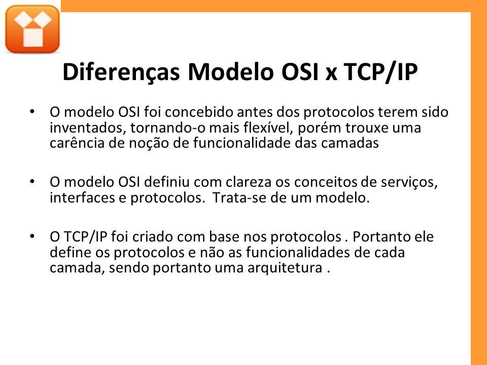 Diferenças Modelo OSI x TCP/IP O modelo OSI foi concebido antes dos protocolos terem sido inventados, tornando-o mais flexível, porém trouxe uma carência de noção de funcionalidade das camadas O modelo OSI definiu com clareza os conceitos de serviços, interfaces e protocolos.