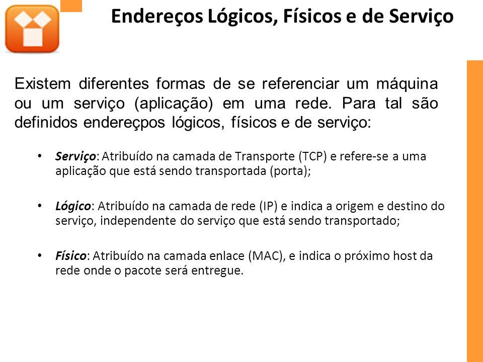 Endereços Lógicos, Físicos e de Serviço Serviço: Atribuído na camada de Transporte (TCP) e refere-se a uma aplicação que está sendo transportada (port