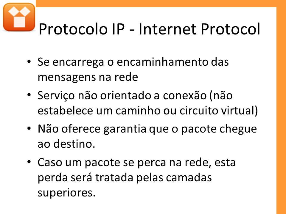 Protocolo IP - Internet Protocol Se encarrega o encaminhamento das mensagens na rede Serviço não orientado a conexão (não estabelece um caminho ou circuito virtual) Não oferece garantia que o pacote chegue ao destino.