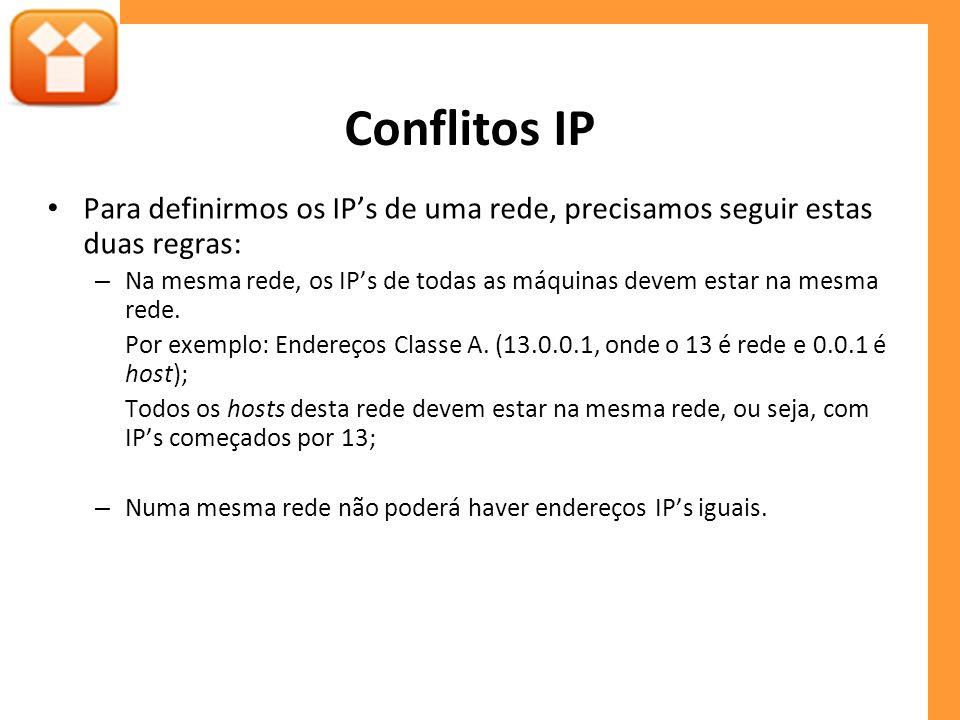 Conflitos IP Para definirmos os IPs de uma rede, precisamos seguir estas duas regras: – Na mesma rede, os IPs de todas as máquinas devem estar na mesma rede.