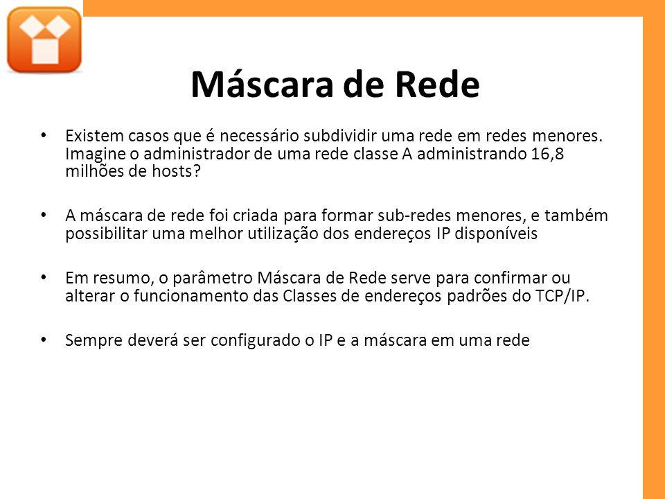 Máscara de Rede Existem casos que é necessário subdividir uma rede em redes menores.