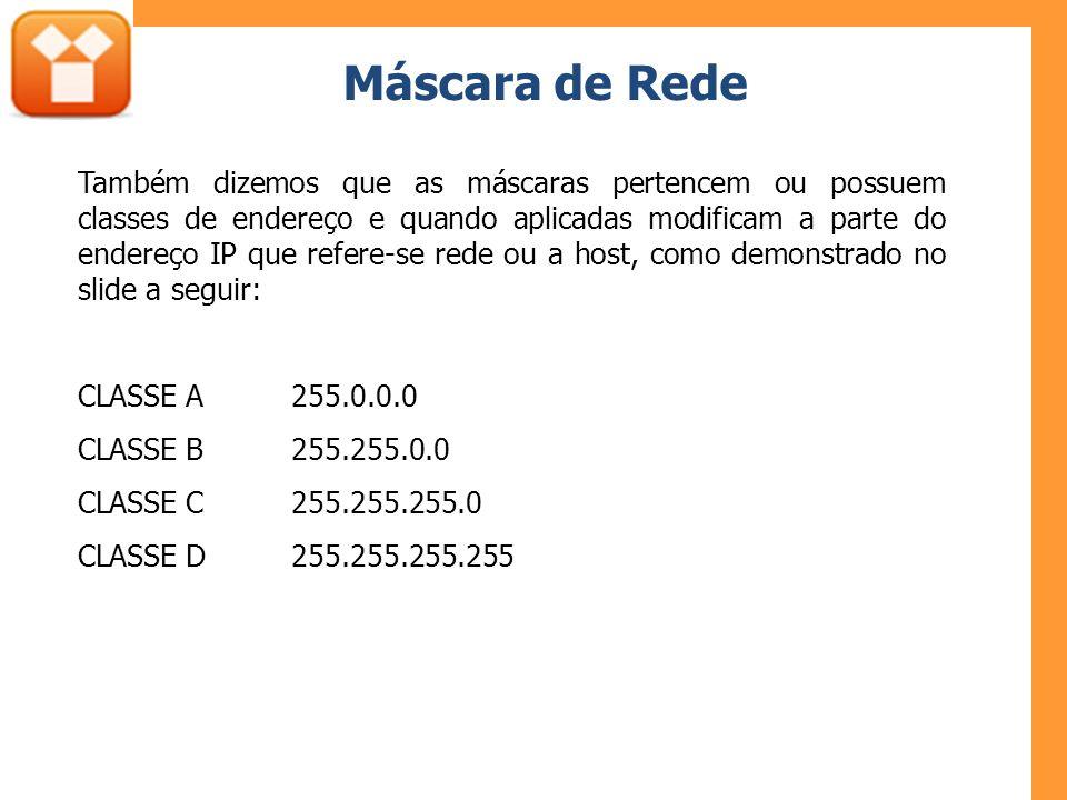 Máscara de Rede Também dizemos que as máscaras pertencem ou possuem classes de endereço e quando aplicadas modificam a parte do endereço IP que refere-se rede ou a host, como demonstrado no slide a seguir: CLASSE A255.0.0.0 CLASSE B255.255.0.0 CLASSE C255.255.255.0 CLASSE D255.255.255.255