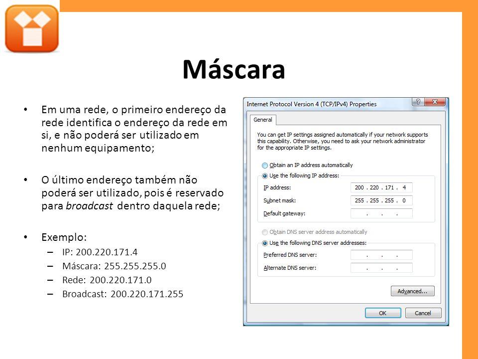Máscara Em uma rede, o primeiro endereço da rede identifica o endereço da rede em si, e não poderá ser utilizado em nenhum equipamento; O último ender