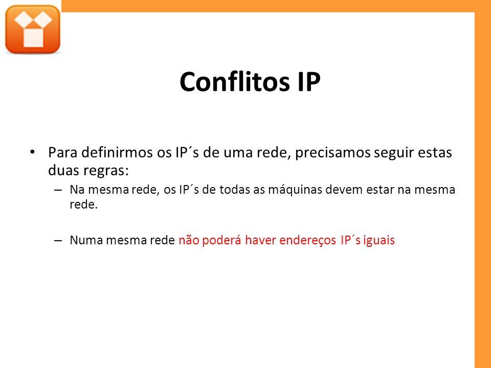 Conflitos IP Para definirmos os IP´s de uma rede, precisamos seguir estas duas regras: – Na mesma rede, os IP´s de todas as máquinas devem estar na mesma rede.