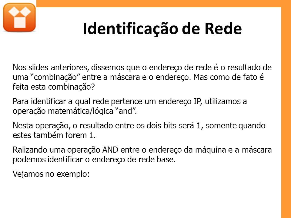 Identificação de Rede Nos slides anteriores, dissemos que o endereço de rede é o resultado de uma combinação entre a máscara e o endereço. Mas como de