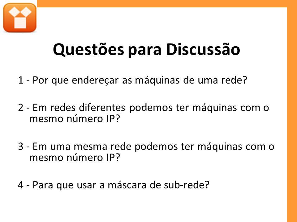 Questões para Discussão 1 - Por que endereçar as máquinas de uma rede? 2 - Em redes diferentes podemos ter máquinas com o mesmo número IP? 3 - Em uma