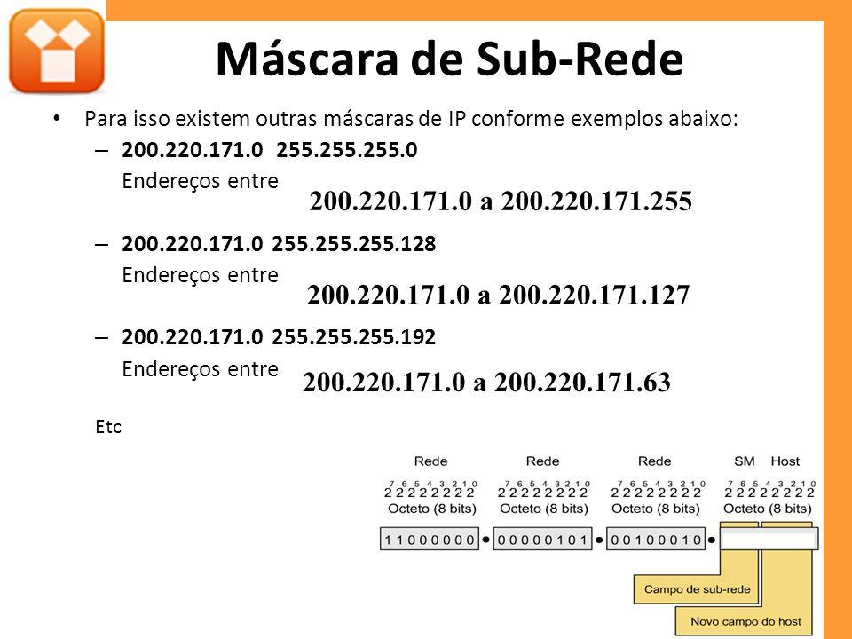 Máscara de Sub-Rede Para isso existem outras máscaras de IP conforme exemplos abaixo: – 200.220.171.0 255.255.255.0 Endereços entre – 200.220.171.0 25