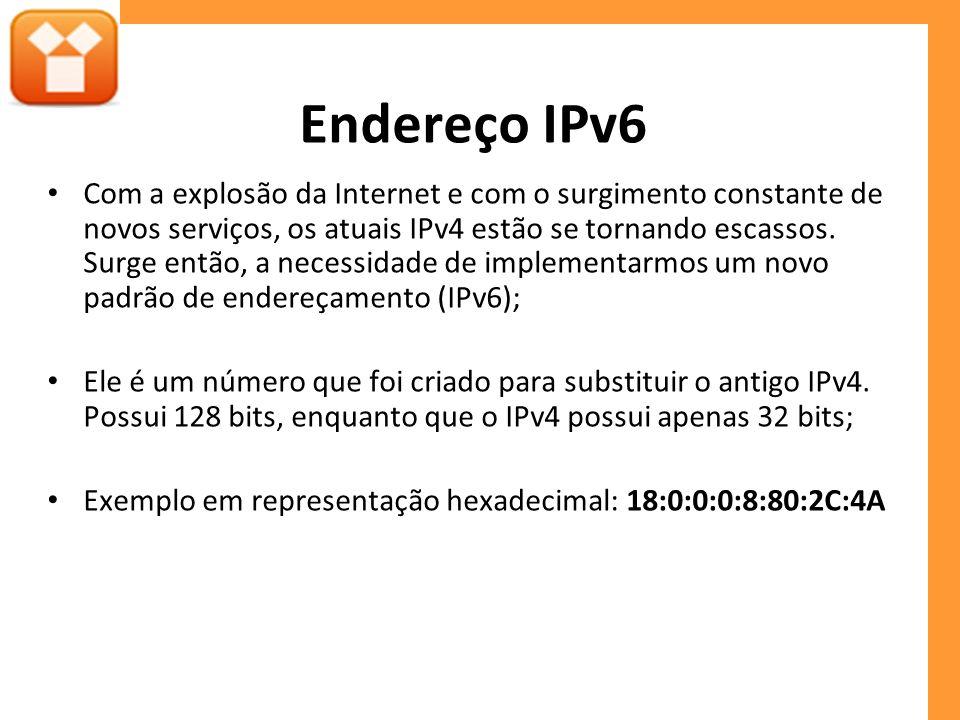 Endereço IPv6 Com a explosão da Internet e com o surgimento constante de novos serviços, os atuais IPv4 estão se tornando escassos.